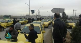 اعتصاب و تظاهرات تاکسی داران قم با به حرکت درآوردن تاکسی های خود در خیابان + فیلم