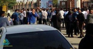 پانزدهمین روز اعتصاب کارگران گروه ملی فولاد اهواز مقابل استانداری