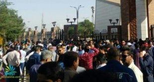 بیستمین روز اعتصاب کارگران گروه ملی فولاد اهواز+فیلم