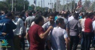 اعتراض و اعتصاب صدها تن از کارگران گروه ملی فولاد اهواز مقابل استانداری