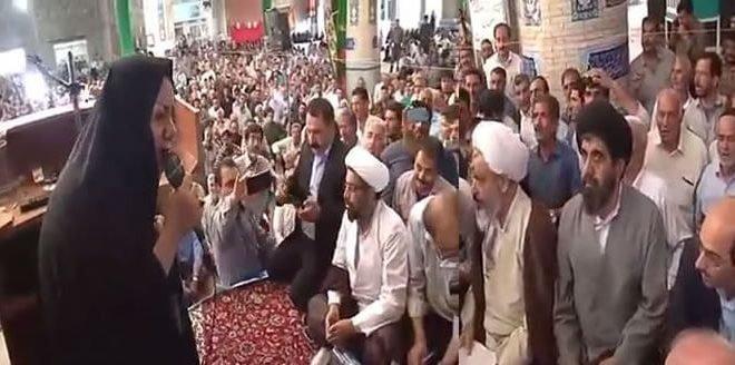 سخنان یک زن شجاع اصفهانی در اعتراض به مشکل کشاورزان ورزنه در برابر جمعی از آخوندها
