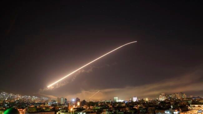 حملات هوایی علیه پایگاههای نظامی سوریه توسط آمریکا ٬فرانسه و بریتانیا