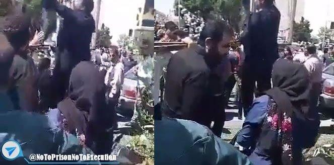 شعار مرگ بر خامنه ای یک زن شجاع در اعتراض به حکم اعدام رامین حسین پناهی در کرج
