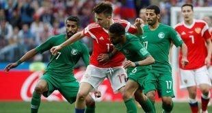 شكست تیم ملی سعودی از روسیه با نتیجه ۵ بر ۰ در افتتاحیه جام جهانی