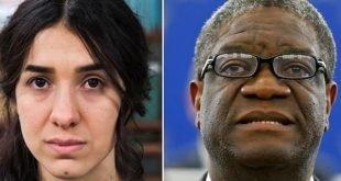 جایزه صلح نوبل ۲۰۱۸ به نادیه مراد از عراق و دنیس کویگی از کنگو تعلق گرفت