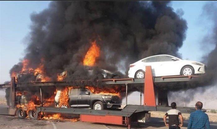 حمله مسلحانه به خودروهای گرانقیمت متعلق به سپاه پاسداران