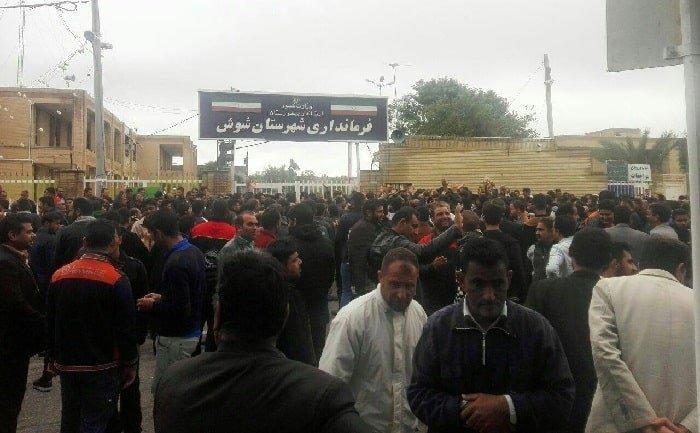 تظاهرات گسترده کارگران هفت تپه در خیابانهای شوش