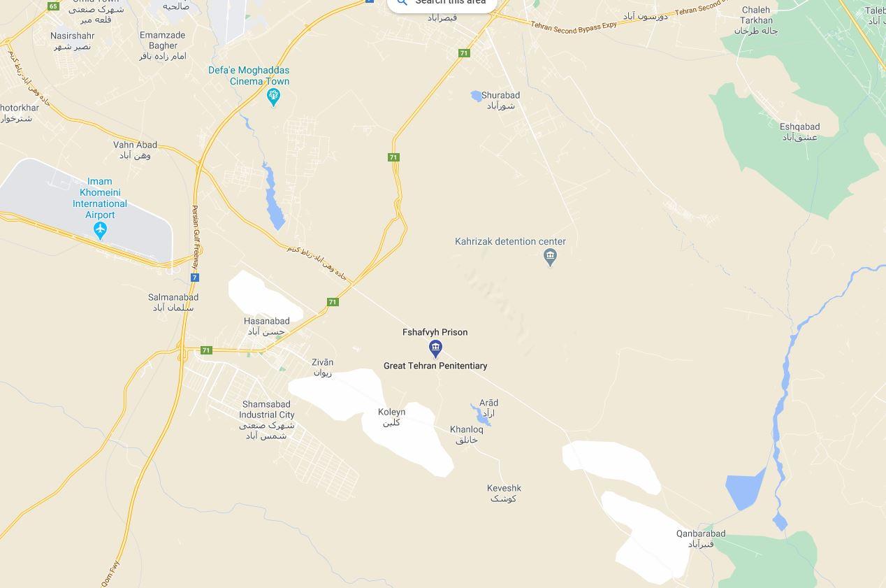 زندان تهران بزرگ کجاست