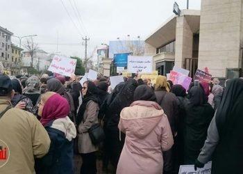 تجمع اعتراضی معلمان و فرهنگیان در گیلان و رشت
