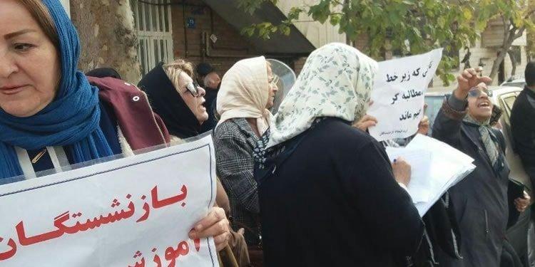 اعتراض فرهنگیان بازنشسته در مقابل دفتر حسن روحانی و زیرگرفتن عمدی یکی از تجمع کنندگان
