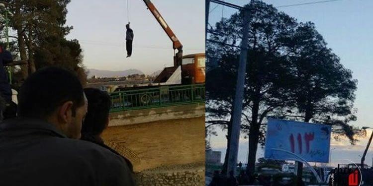 اعدام یک زندانی در ملا عام در فلاورجان اصفهان همراه با تصاویر