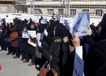 گزارش تصویری از تجمع اعتراضی معلمان و فرهنگیان در کرمانشاه