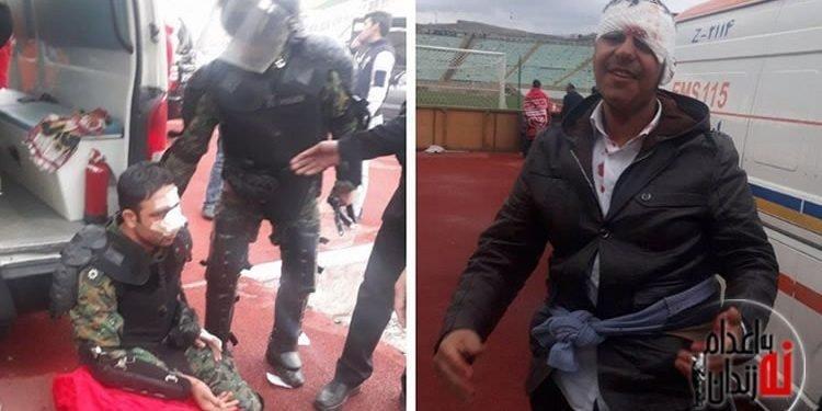 درگیری جوانان در ورزشگاه سهند با نیروهای ضدشورش و ماشین آبپاش