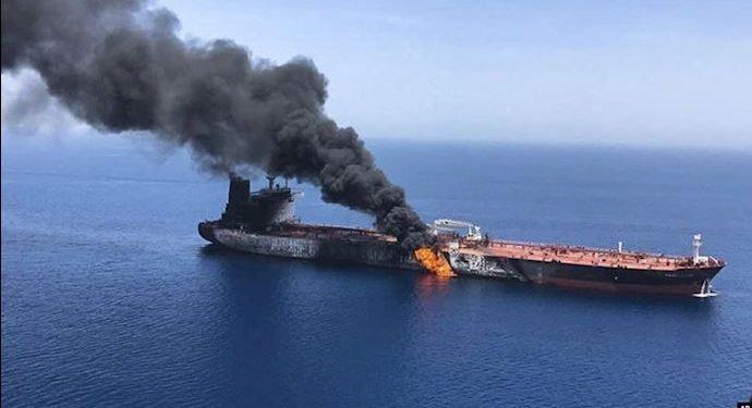 ویدئویی از تلاش قایقهای ایرانی برای از بین بردن شواهد انفجار در نفتکشها